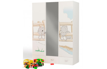 Детский шкаф 3-х дверный с зеркалом Bears ABC-King (Мишки)