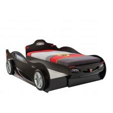 Кровать-машина Coupe 1313 c выдвижной кроватью, черная, сп. м. 90х190/90х180