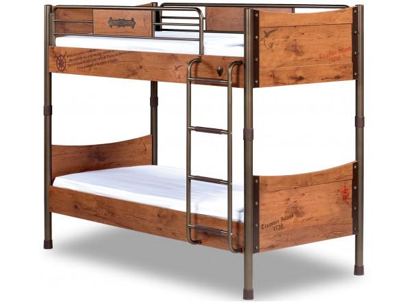 Детская 2-х ярусная кровать сп. м. 90х200 (без матраса) CILEK BLACK PIRATE KS-1401