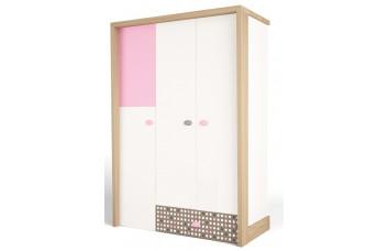 Детский шкаф 3-х дверный MIX Розовый ABC-King