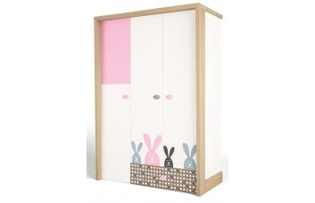 Детский шкаф 3-х дверный MIX Bunny Розовый ABC-King