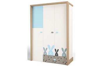 Детский шкаф 3-х дверный MIX Bunny Голубой ABC-King
