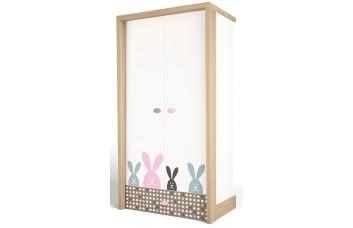 Детский шкаф 2-х дверный MIX Bunny Розовый ABC-King
