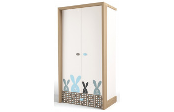 Детский шкаф 2-х дверный MIX Bunny Голубой ABC-King