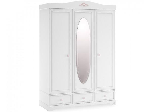 Rustic White Шкаф3-х дверный с зеркалом 1001 CILEK