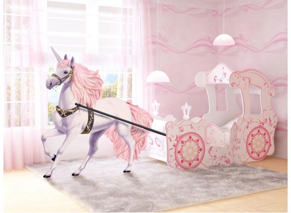 Кровать карета для девочки, розовая и золотая