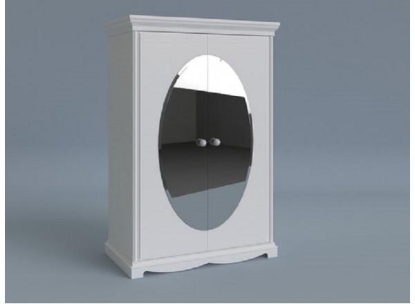 Шкаф  двухдверный с двумя зеркалами овальной формы