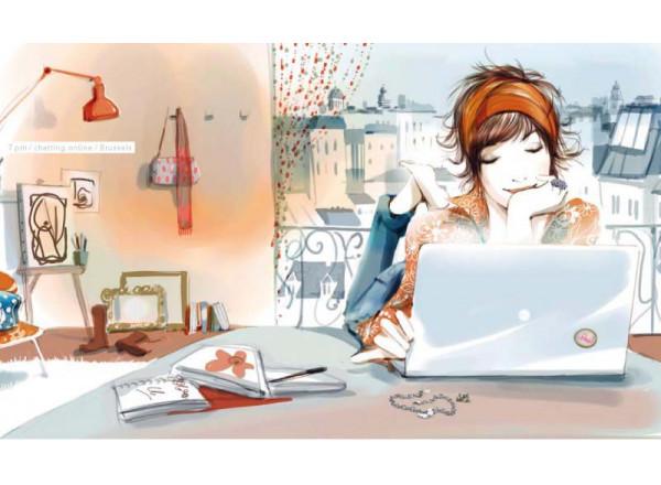 Фотообои Девушка за компьютером