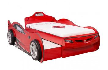 Кровать-машина Coupe 1306 c выдвижной кроватью, красная, сп. м. 90х190/90х180