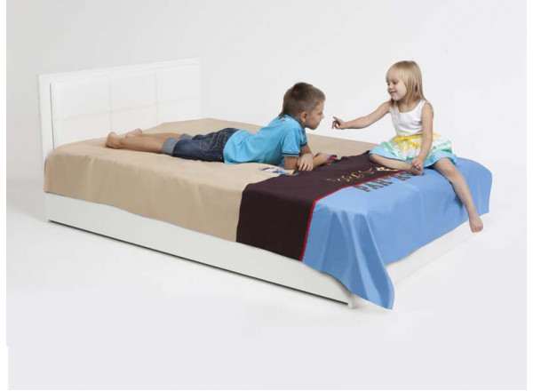 Кровать классика Active с кожанным изголовьем (120х90)
