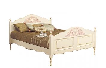 Кровать с высоким изножьем, роспись с элегия с золотом