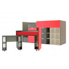 НИКИ Кровать-чердак низкий с выдвижным столом НИКИ-02 Миларосо