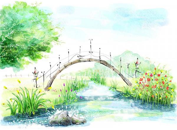 Фотообои Мост через речку